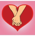 Male and female hand together in a red heart vector image