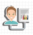 man with statistics isolated icon design vector image vector image