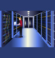 man working in a data center vector image