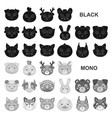muzzles of animals black icons in set collection vector image vector image