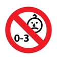 not for children under 3 years of age icon vector image
