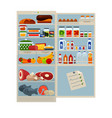 open refrigerator full of delicious food and cool vector image vector image