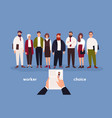 people dressed in office clothing standing in row vector image vector image