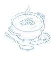 Pot of hot soup vector image vector image