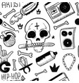 rap music hip hop doodle pattern with rap vector image vector image