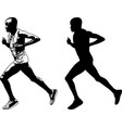 runner sketch and silhouette vector image vector image