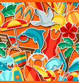 seamless pattern with summer and beach objects vector image