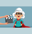 senior actress filming super hero movie vector image vector image
