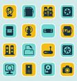 set of 16 computer hardware icons includes laptop vector image vector image