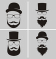set of fashion silhouette hipster style old vector image vector image