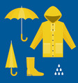 set of rainy season in flat design vector image vector image