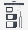 sim card adapter kit phone chip realistic icon vector image vector image