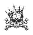 skull without jaw in royal crown vector image vector image
