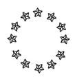 stars round emblem frame black and white vector image vector image