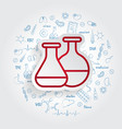 test tube icon on handdrawn healthcare vector image