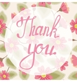 Thank you lettering onfloral baclground vector image