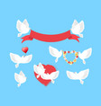 white pigeons holding red ribbon flower wreath vector image