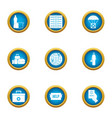world care icons set flat style vector image vector image