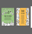 flyers with kitchen ware vector image
