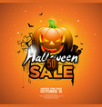 hallowen sale with pumpkin cemetery and bats on vector image