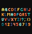 colorful alphabet in retro memphis style - fashion vector image