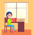 schoolboy sits with open book near window vector image
