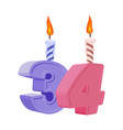 34 years birthday number with festive candle for vector image