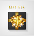 black gift box with golden bow and ribbon top vector image vector image