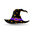 black witch and wizards hat with belt and stars vector image vector image