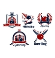 Bowling emblems with game items vector image vector image