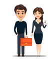 businessman and businesswoman cute cartoon vector image