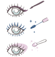 cartoon eye makeup eyeliner mascara eye shadow vector image