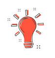 cartoon light bulb icon in comic style bulb idea vector image vector image