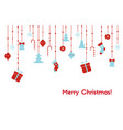 christmas card with hanging christmas toys vector image vector image