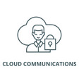 cloud communications line icon cloud vector image vector image