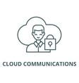 cloud communications line icon cloud vector image vector image