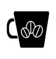coffee cup with coffee beans icon vector image vector image