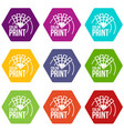color print icons set 9 vector image