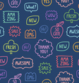 Colorful outline phrases seamless pattern on blue vector image vector image