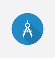 compasses Flat Blue Simple Icon with long shadow vector image