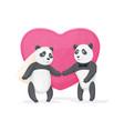 couple in love pandas vector image vector image