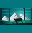 cow in the forest - cartoon lanscape vector image
