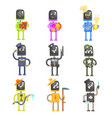 cute cartoon robots in various professions with vector image vector image