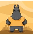 Cute hand drawn hippo with empty banner vector image vector image