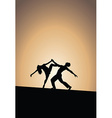 Dancing couple silhouettes sunset vector image vector image