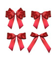 decorative red bow collection set 3d realistic vector image