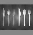 disposable tableware transparent set vector image vector image