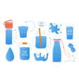 doodle water cartoon glass and bottle for liquid vector image