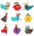 female superheroes in classic comics costumes with vector image