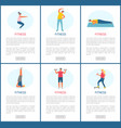 fitness woman and man doing exercises website vector image vector image